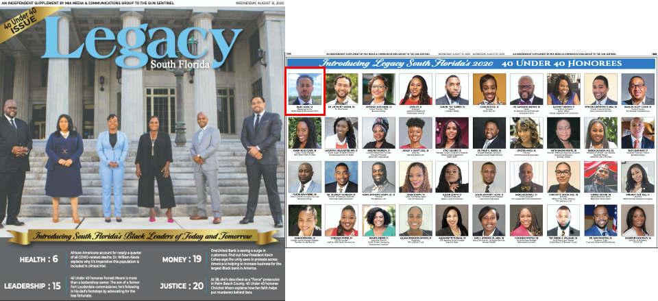 Legacy Magazine Honors Marc Adam as One of South Florida's  40 Under 40: Black Leaders of Today and Tomorrow – 2020